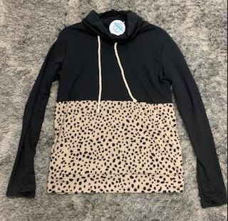 Lily Pad - Black Cheetah Pullover W/ Neck Gathering