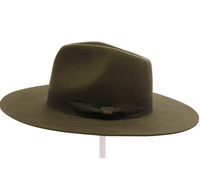 CC - Ribbon Band Trim Wool Felt Panama Hat