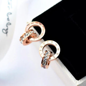 Roman Rose Earrings, Clear CZ