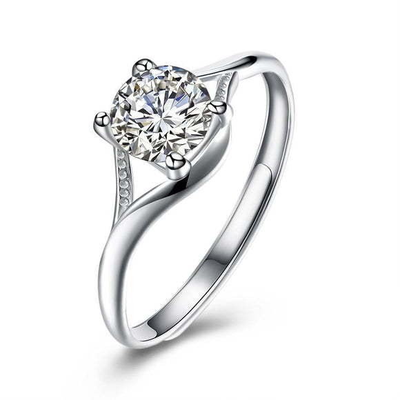 Shimmering Droplet Ring, Clear CZ