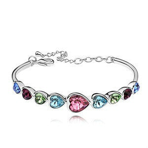 Multi-Color Sparkling Heart Bracelet, Multi-Colored CZ