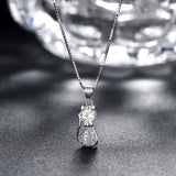 Cat Floating Locket, Clear CZ