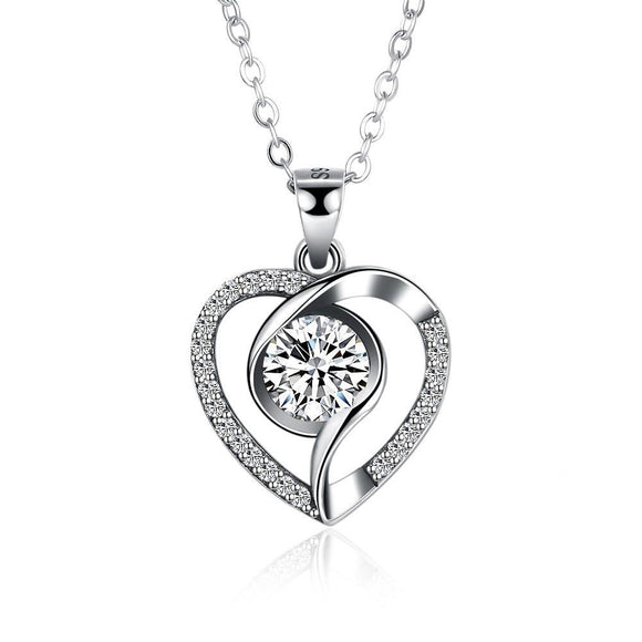 Treasured Heart Necklace, Clear CZ