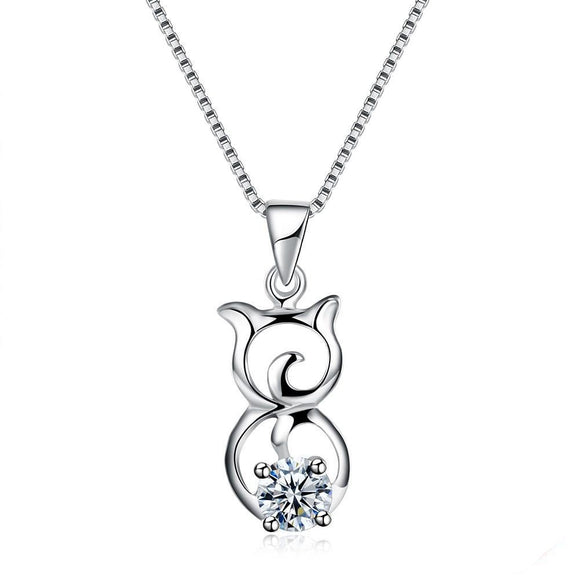 Cute Kitten Necklace, Clear CZ
