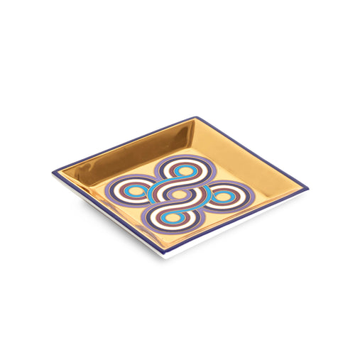 Milano Square Tray, blue/gold