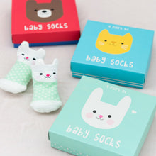 Load image into Gallery viewer, Baby Socks, kitten design, 4 pk
