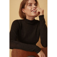 Load image into Gallery viewer, Rose Knit Roll Neck, black