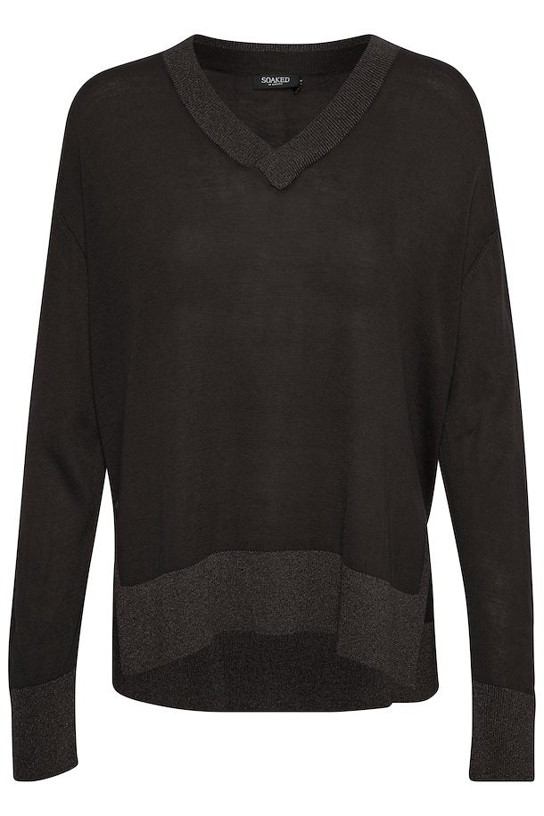 Silky V-Neck Pullover, black