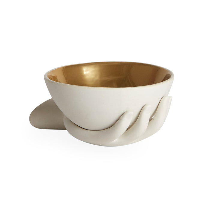Eve Accent Bowl, white w. gold interior