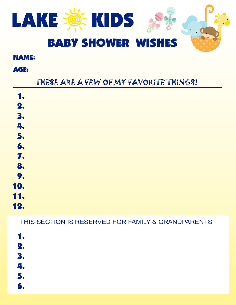 Baby Shower Registry & Wish List at Lake Kids