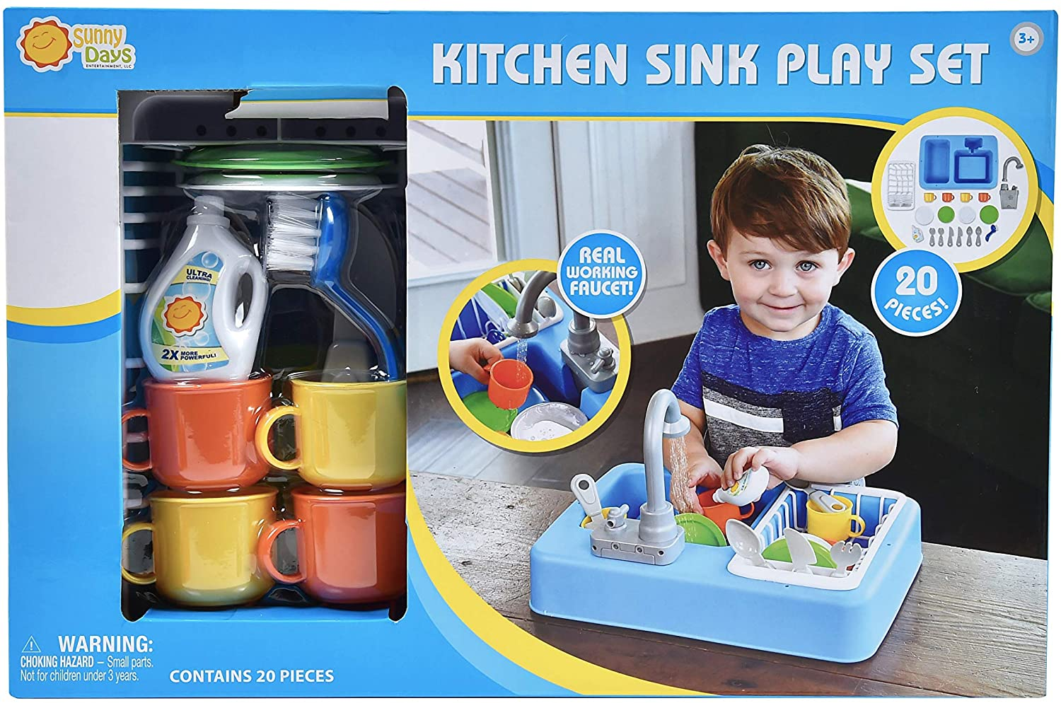 KITCHEN SINK PLAY SET WITH REAL WORKING FAUCET