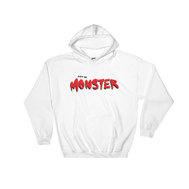 Just Be MONSTER Red Brush Hoodie - White