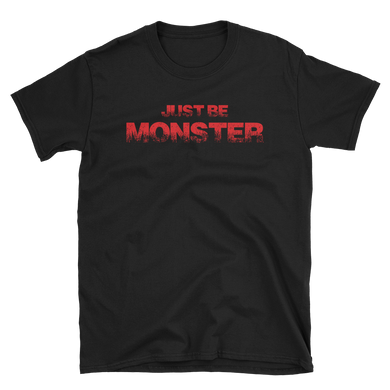 Just Be MONSTER Raw Red, Short Sleeve Tee - Black
