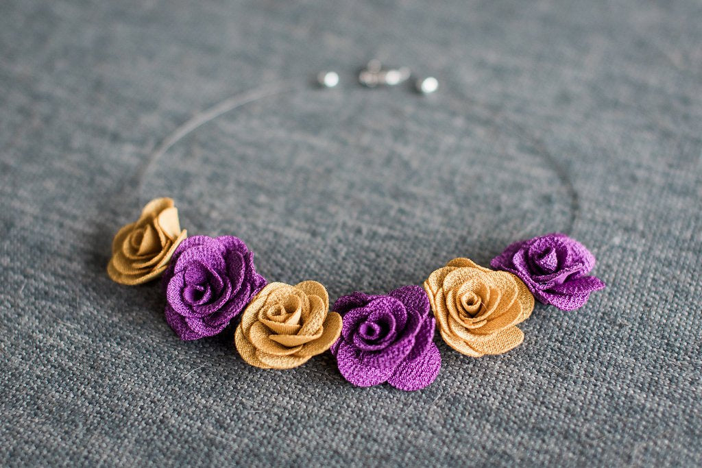 Purple & Gold Flower Necklace