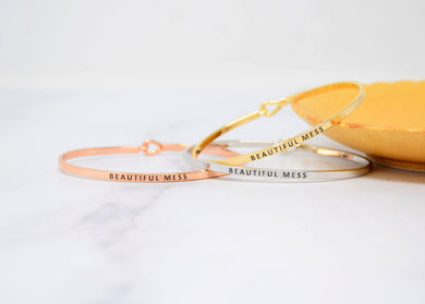 beautiful mess - Bracelet Bangle with Message for Women Girl Daughter Wife Holiday Anniversary Special Gift