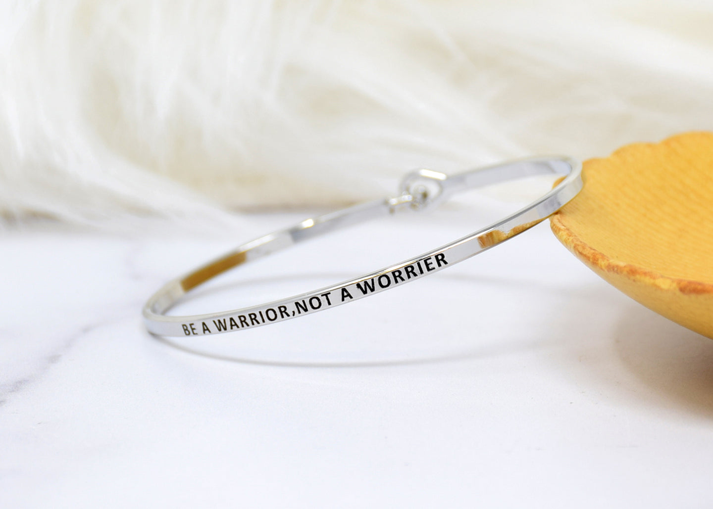Be a warrior not a worrier - Bracelet Bangle with Message for Women Girl Daughter Wife Holiday Anniversary Special Gift