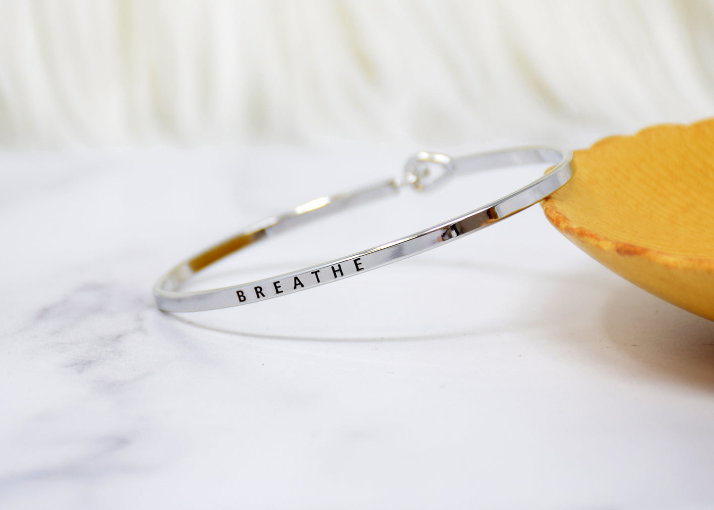 Breathe - Bracelet Bangle with Message for Women Girl Daughter Wife Holiday Anniversary Special Gift