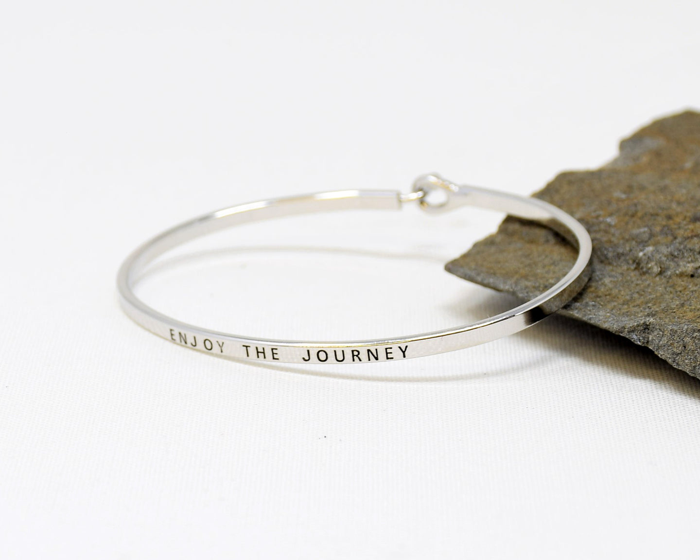 Enjoy the journey - Bracelet Bangle with Message for Women Girl Daughter Wife Holiday Anniversary Special Gift