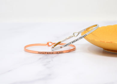 Expect Great Things - Bracelet Bangle with Message for Women Girl Daughter Wife Holiday Anniversary Special Gift