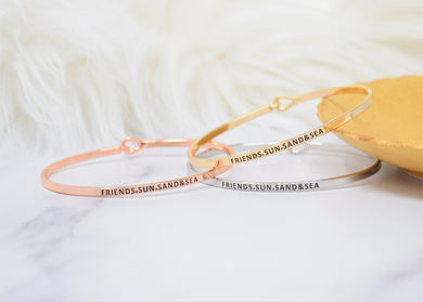 Friends, Sun, Sand And Sea - Bracelet Bangle with Message for Women Girl Daughter Wife Holiday Anniversary Special Gift