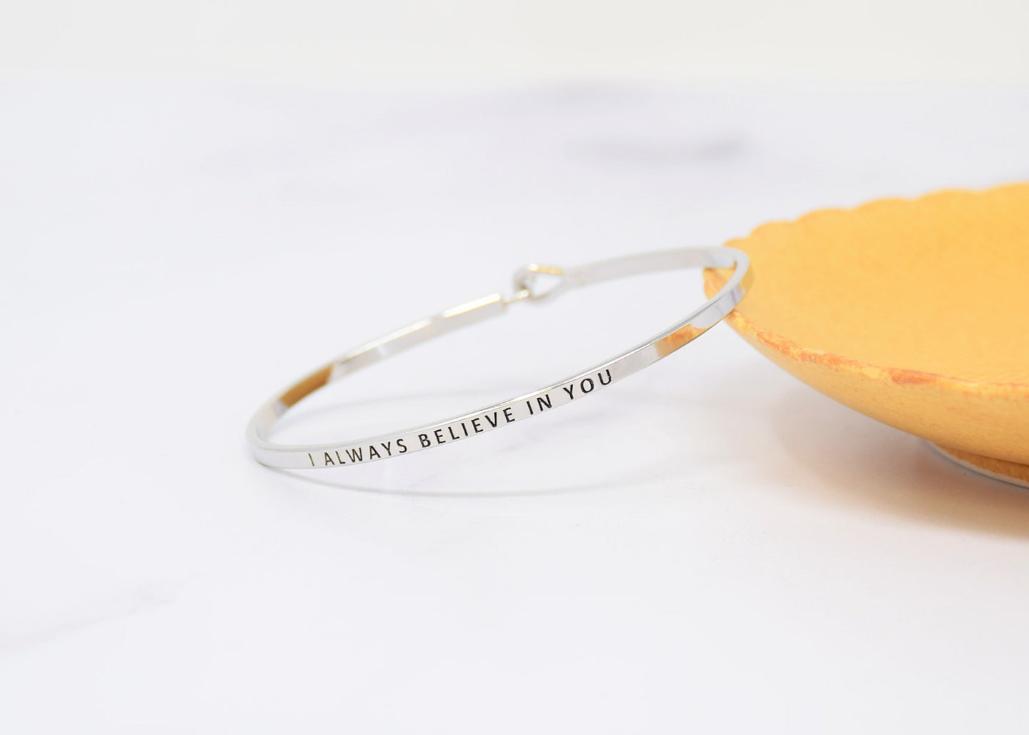 I always believe in you - Bracelet Bangle with Message for Women Girl Daughter Wife Holiday Anniversary Special Gift