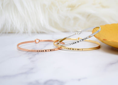 I can and I will - Bracelet Bangle with Message for Women Girl Daughter Wife Holiday Anniversary Special Gift