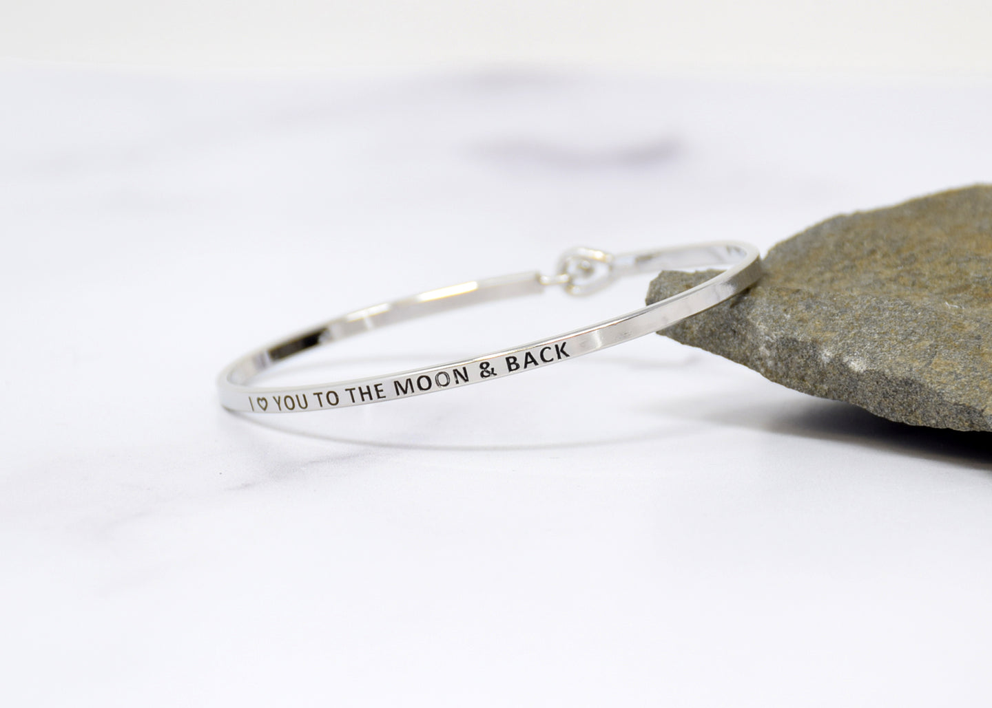 I love You to the moon and Back - Bracelet Bangle with Message for Women Girl Daughter Wife Holiday Anniversary Special Gift