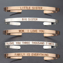 Load image into Gallery viewer, Big Sister Little Sister Engraved Cuff Bracelet Sisters Bracelet Silver Rose Gold Family Bracelets Bangle Daughter Mom Dad Gifts
