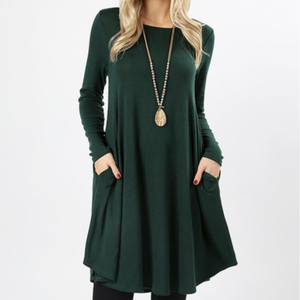Long Sleeve Green Swing Dress