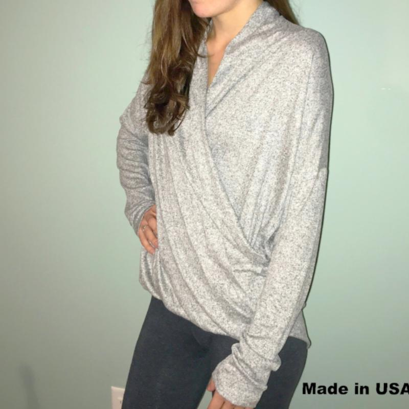 Long Sleeve Front Cross Sweater -Gray