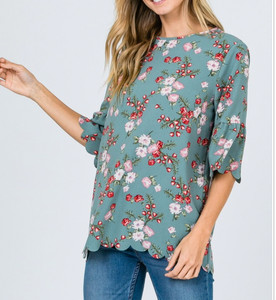 Scalloped hem top, floral