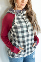 Load image into Gallery viewer, Genuine Ampersand Ave DoubleHood™ Sweatshirt -Burgundy & Gingham