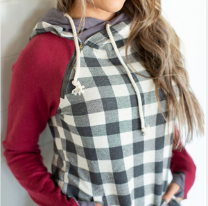 Genuine Ampersand Ave DoubleHood™ Sweatshirt -Burgundy & Gingham