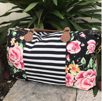 Floral and Stripes Weekender Bag