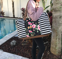 Load image into Gallery viewer, Stripes and Floral Weekender Bag