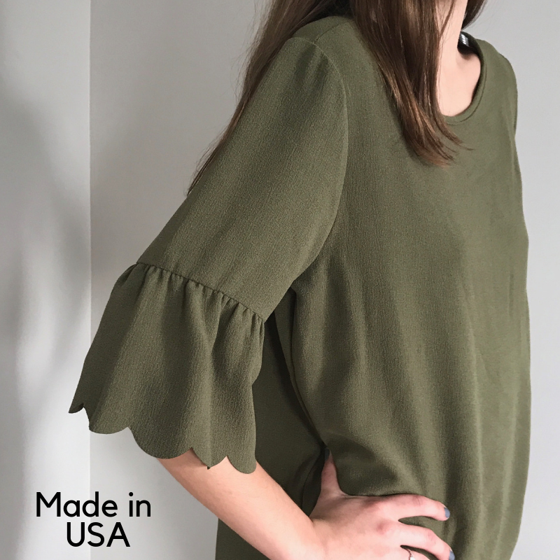 Scalloped hem top Olive