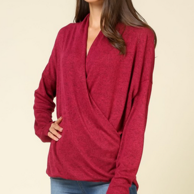 Long Sleeve Front Cross Sweater - Burgundy
