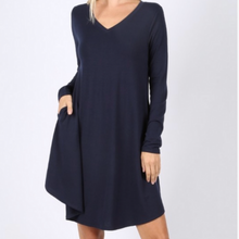 Load image into Gallery viewer, Long Sleeve Navy V-neck Swing Dress