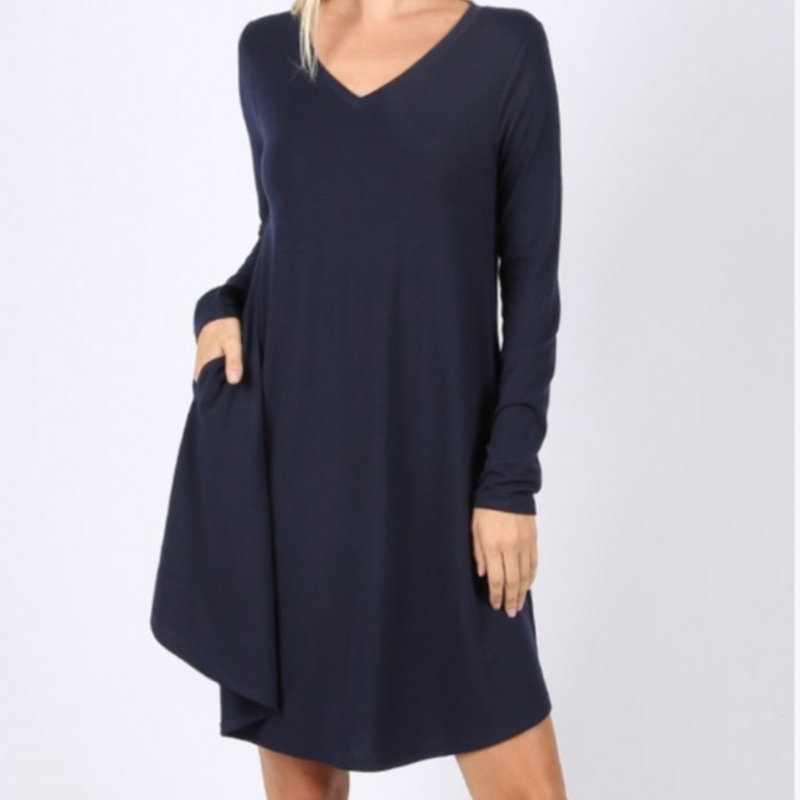 Long Sleeve Navy V-neck Swing Dress