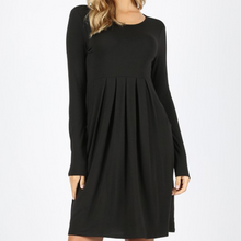 Load image into Gallery viewer, Long Sleeve Pleated Waist A-line dress -Black
