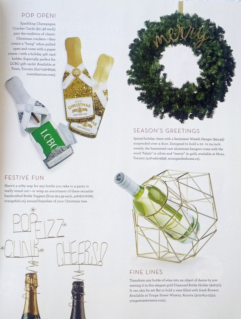 LCBO Food and Drink Dec 2017 Must Have Bottle Toppers Cheers Yah Pop Fizz Clink