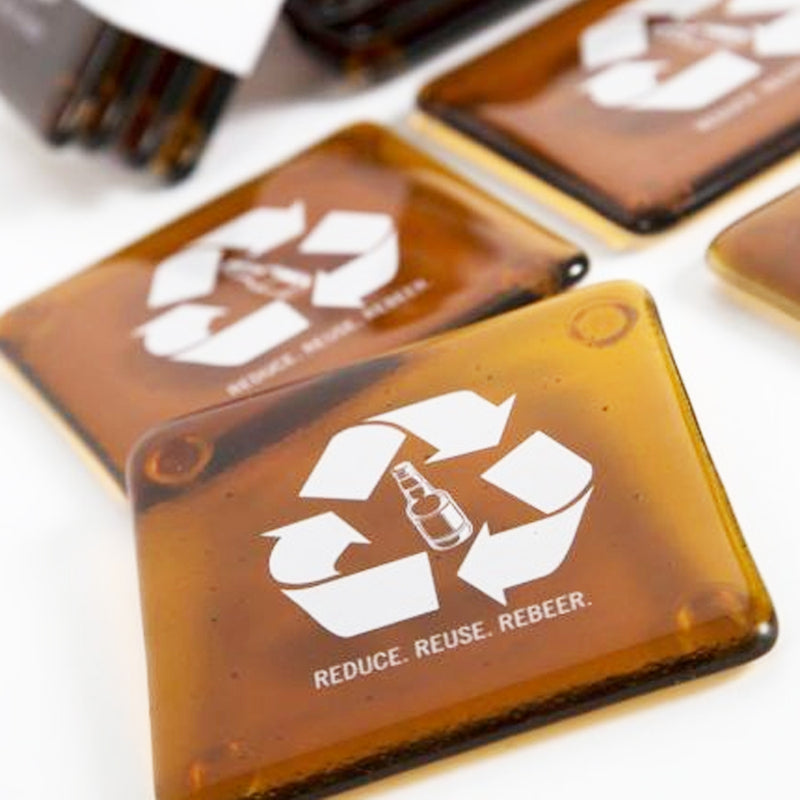 Recycled Glass Nametag Coasters