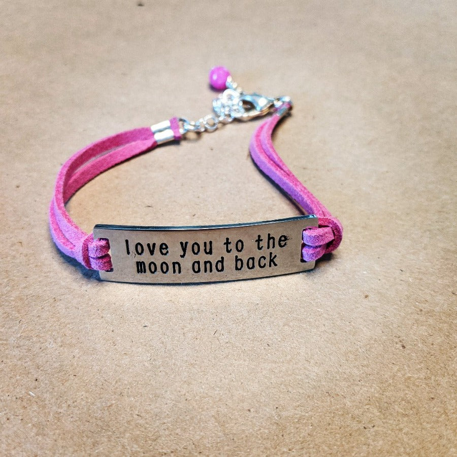 I Love You To The Moon And Back Charm Pink Bracelet
