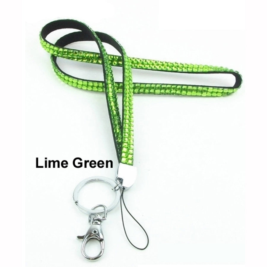 Lime Green Rhinestone Crystal Lanyards