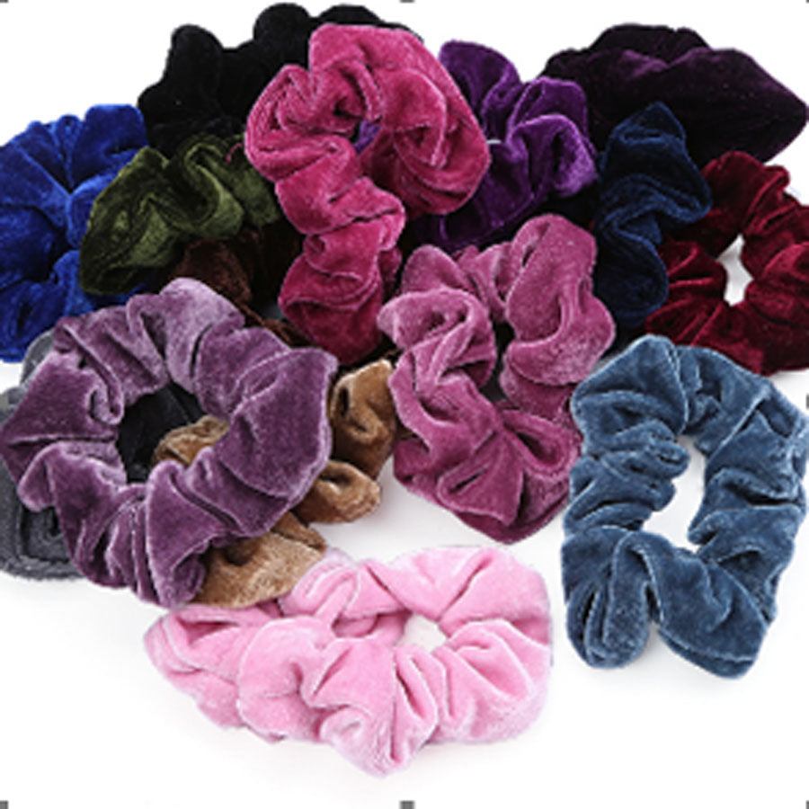 Velvet Light Pink Scrunchies
