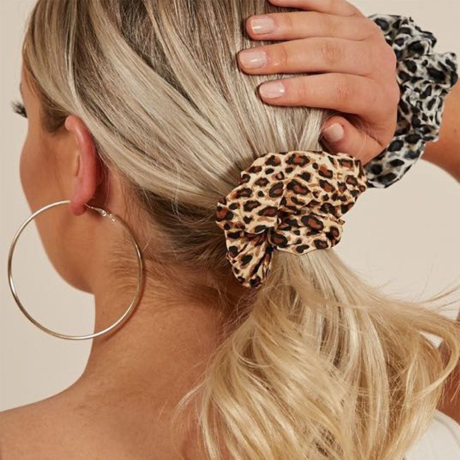 Animal Print Grey, Black and Brown Leopard Scrunchies
