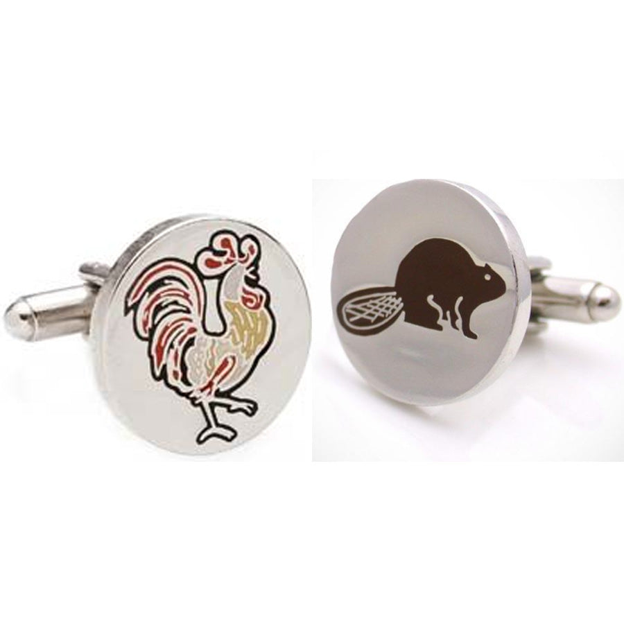 Rooster and Beaver Cuff Links