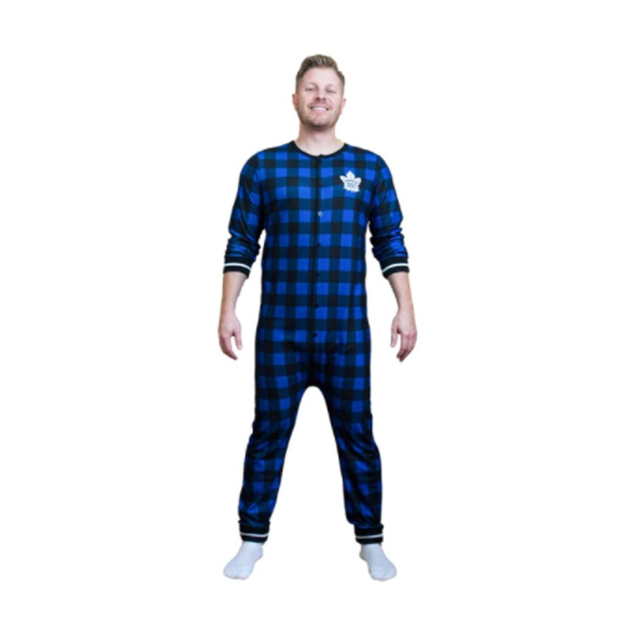 Toronto Maple Leafs Plaid Union Suit Onesie