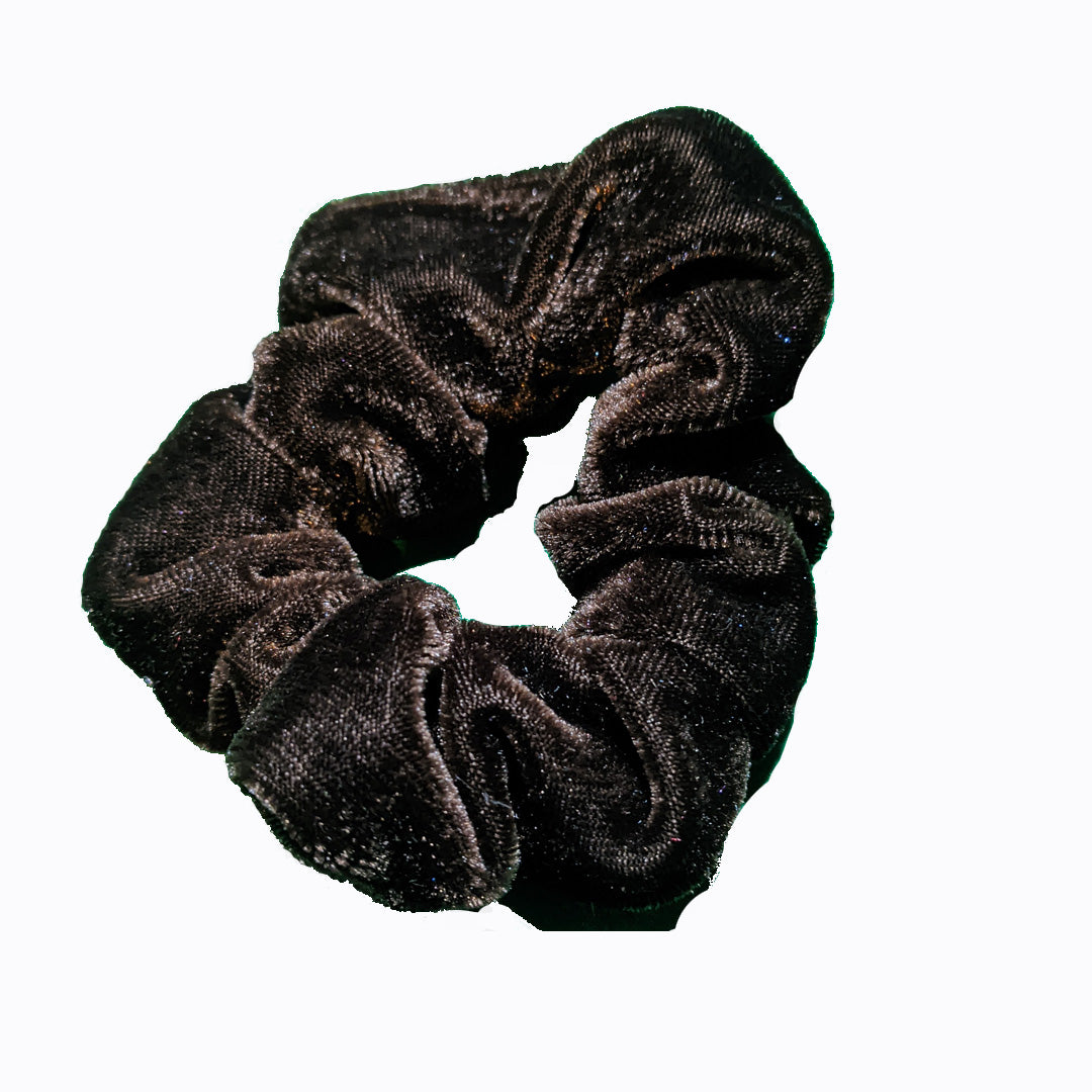 Velvet Chocolate Brown Scrunchies