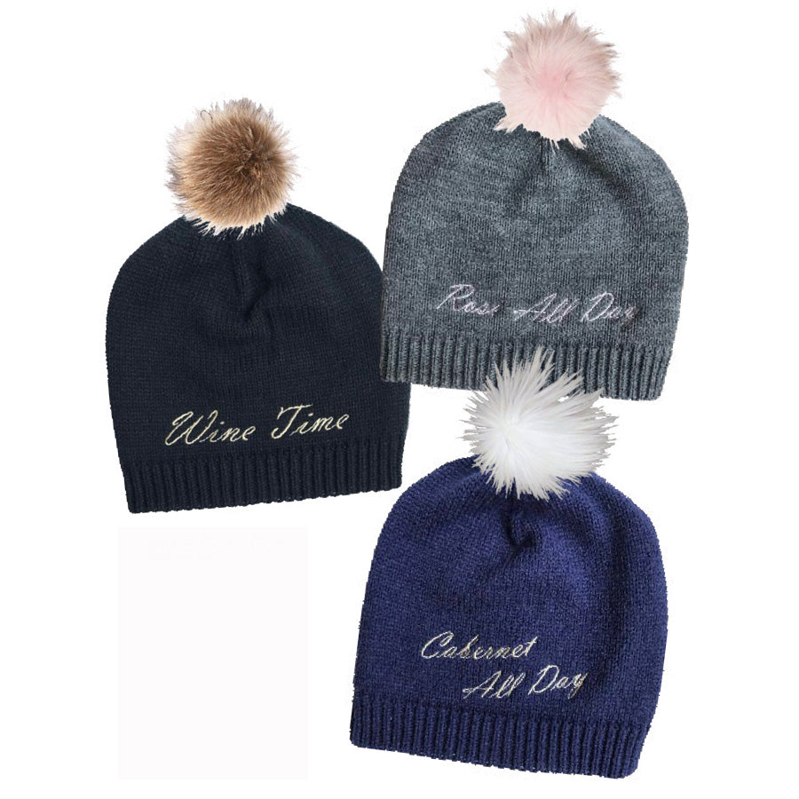 Rose All Day Pom Pom Beanie